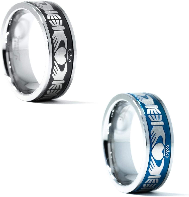 Beveled Edges Celtic Irish Claddagh Tungsten Wedding Band Men Mens Engagement Ring Engraved Ring Brush Silver Black Tungsten Ring Men