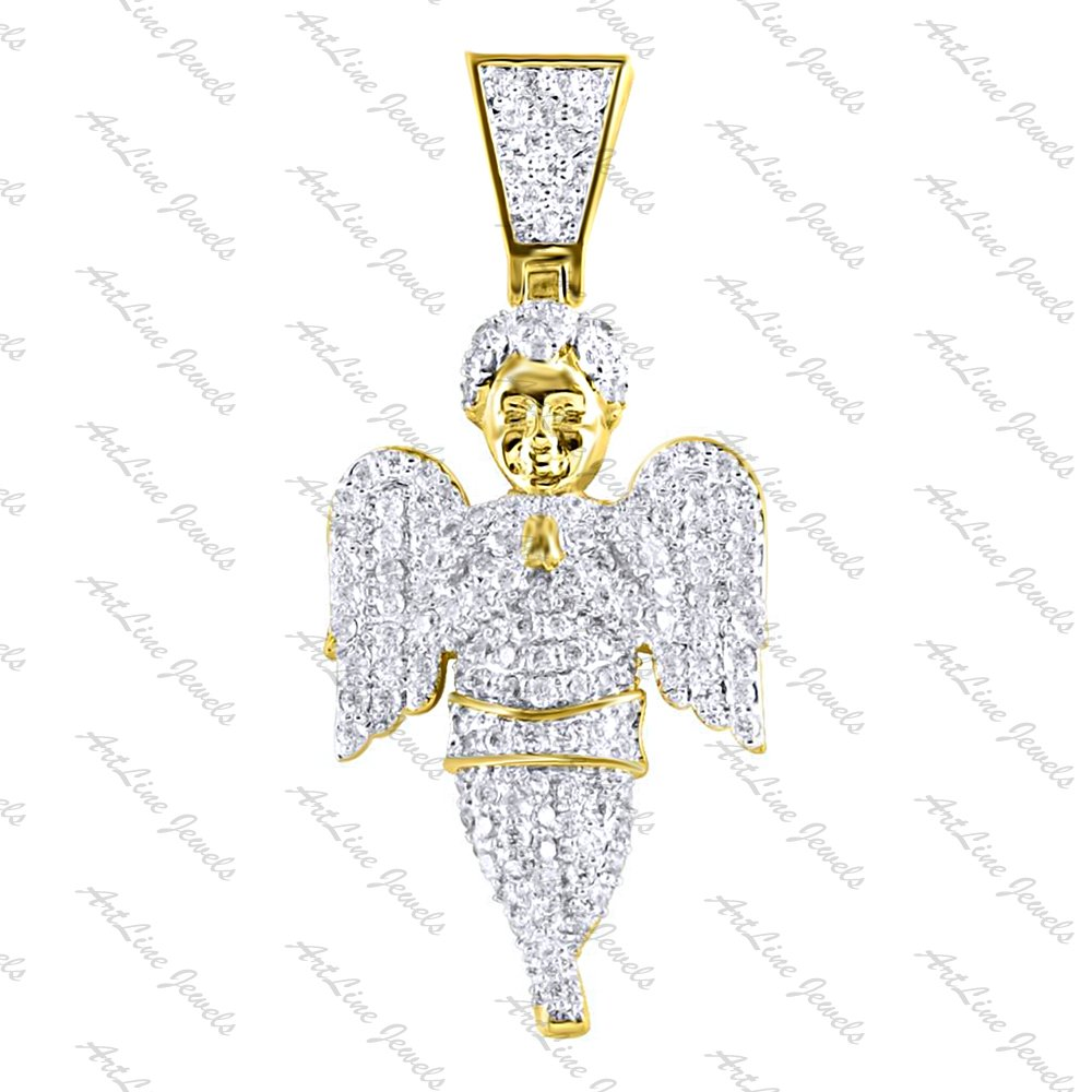 ArtLine Jewels 14K Yellow Gold Plated CZ Diamond Alloy Small Charm Angel Pendant With Chain (Yellow)