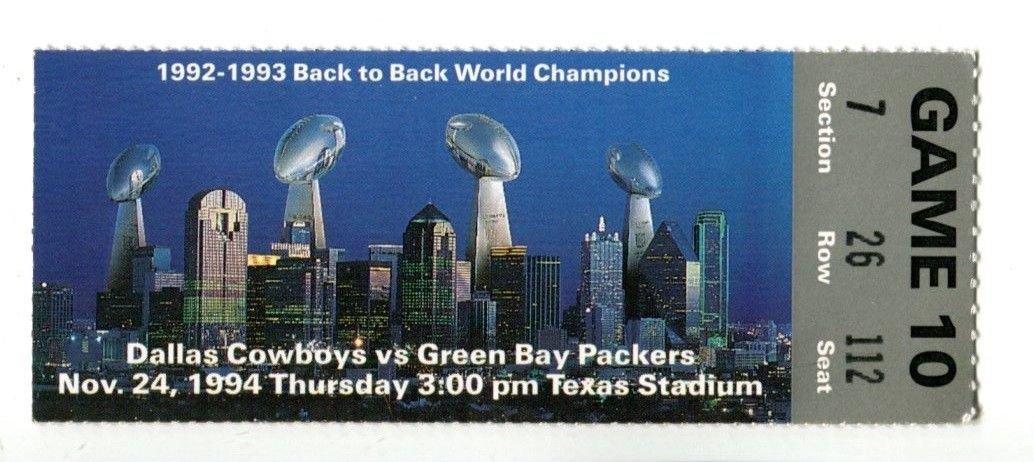 1994 Dallas Cowboys v Green Bay Packers Ticket 11/24 Texas Stadium 42577