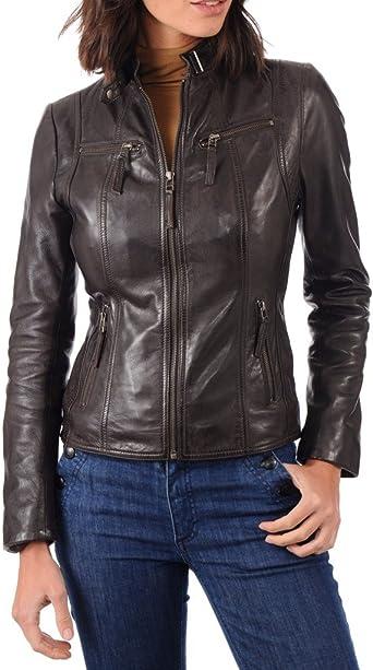 Prim leather Womens Lambskin Leather Bomber Biker Jacket Long Sleeves Zipper
