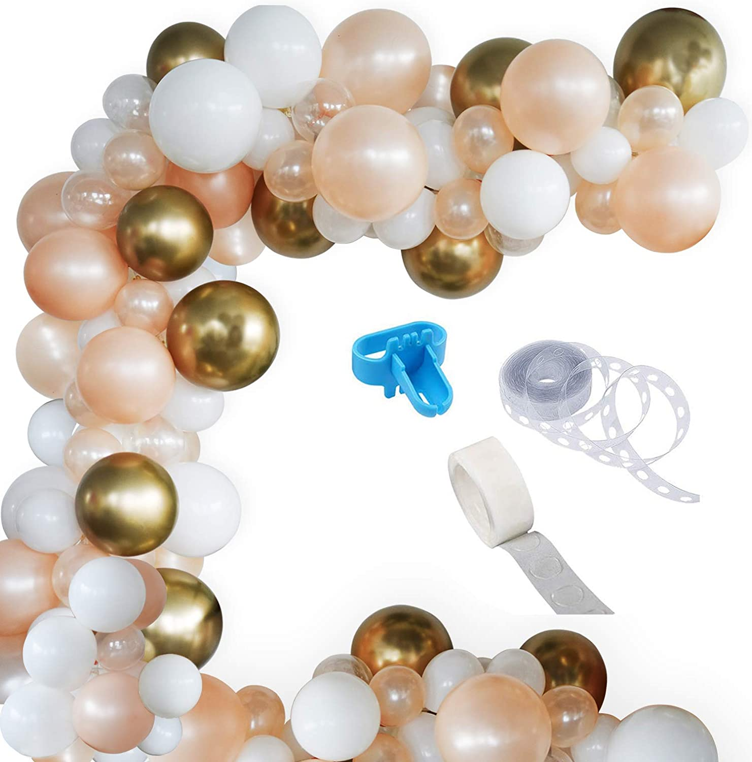 Blush Pearl Balloon Garland Kit, 100PCS Balloon Garland Including White,Clear,Chrome Gold & Blush Pearl Assorted Balloons Decorations Backdrop Ideal for Wedding Birthday Baby Shower Bridal Party Decorations