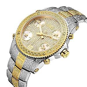 JBW Men's Luxury Jet Setter 2.34 ctw Diamond Wrist Watch with Stainless Steel Link Bracelet