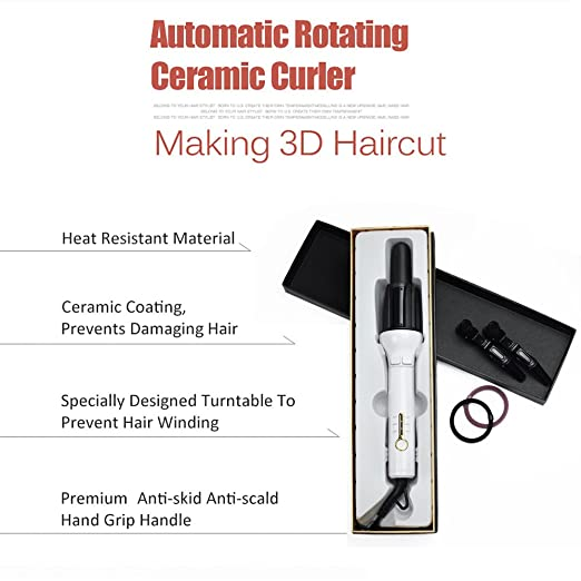 Amazon.com: Hair Curling Iron,Automatic Curling Wand Automatic Roller 360 Rotating Styling Wand 1.1
