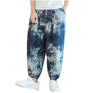 ღLILICATღ Hombre Pantalones Harem - Cómoda Cintura Elástica ...