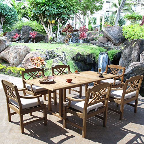 Roland Premium Grade Teak Dining Furniture 7PC Set Sunbrella (Frontgate Dining Arm Chair Cushion)