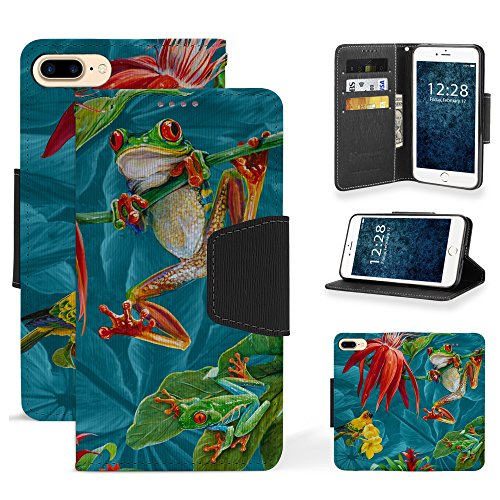 Trishield Gear Infolio Wallet Case For Iphone 8 Plus, IPhone 7 Plus, Slim PU Leather TPU Interior Black Cover With Card Slot Cash Slot Magnetic Flap And Kickstand - Frogs (Playful Frogs)