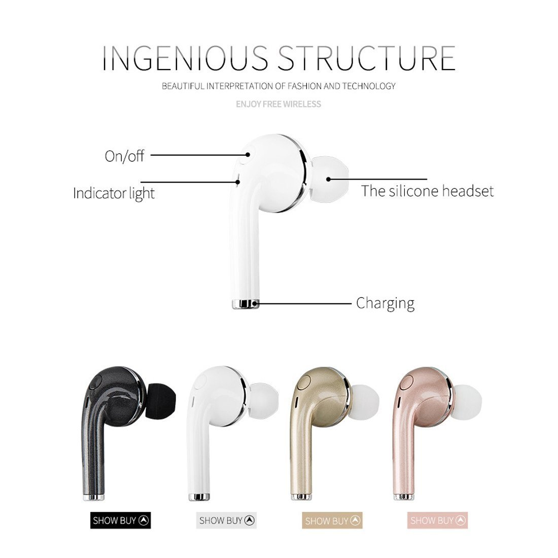 gzmy Bluetooth 4.1 auriculares, Mini auriculares inalámbricos auriculares in-ear para iPhone 7 Plus 6S 6S Plus y Samsung Galaxy S7 S8 y teléfonos Android, ...