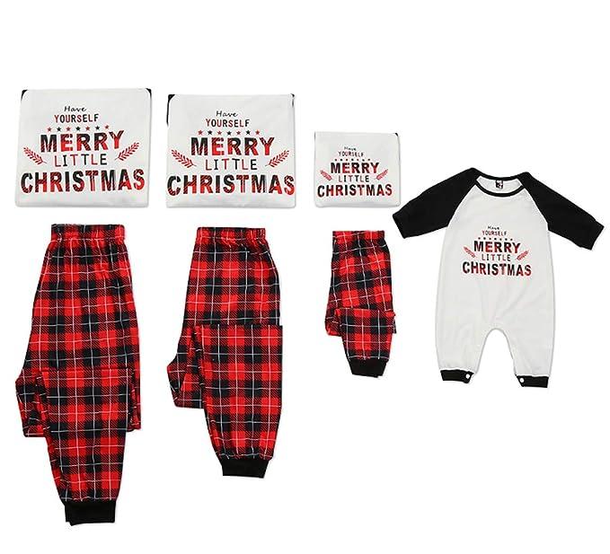 c0e523febb Family Matching Plaid Christmas Pajamas Pjs Sets Letter Printed Color Block  Top Plaid Pants Christmas Sleepwear