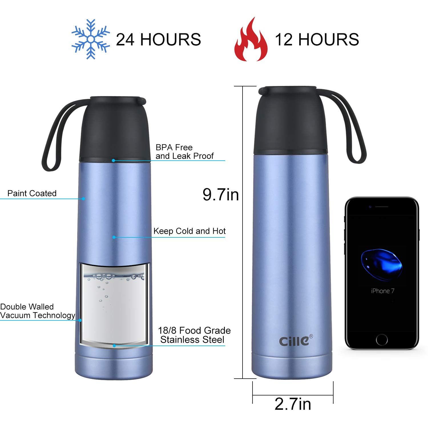 Cille 17 oz Insulated Water Bottles 500ml Blue Water Bottle Stainless Steel,Metal Double Walled Vacuum Flask Leak proof Bicycle Water Bottle for Teen Reusable Sports Bottle