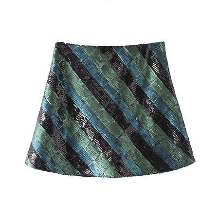 QZBTU Faldas Mujer Minifalda De Lentejuelas para Mujer Luminosa ...