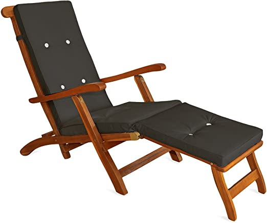 Detex Almohadilla para Tumbona cojín para Silla sillón Antracita Aspecto de Lino con Correas de sujeción para Interior Exterior: Amazon.es: Jardín