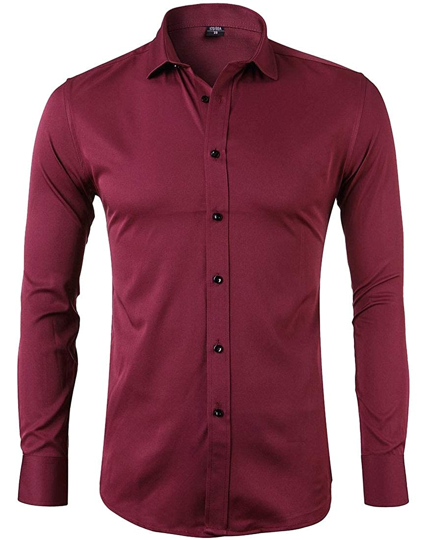 Alion Mens Business Casual Long Sleeves Solid Color Formal Dress Shirts