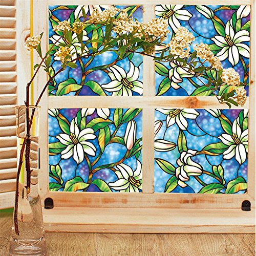 - 3D Window Decor Film Sticker Orchid Magnolia Flower Stained Glass Romantic Home Decoration Privacy Protection 45*100cm