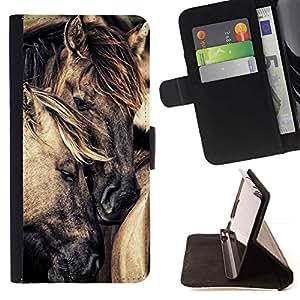 Momo Phone Case / Flip Funda de Cuero Case Cover - Amour Cheval Étalon Mustang - Sony Xperia M4 Aqua