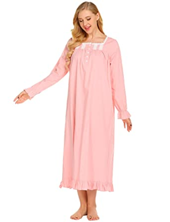 Ekouaer Womens Lawn Long Sleeve Victorian Nightgown Button-up Full Length  Sleepwear  5c59eb642
