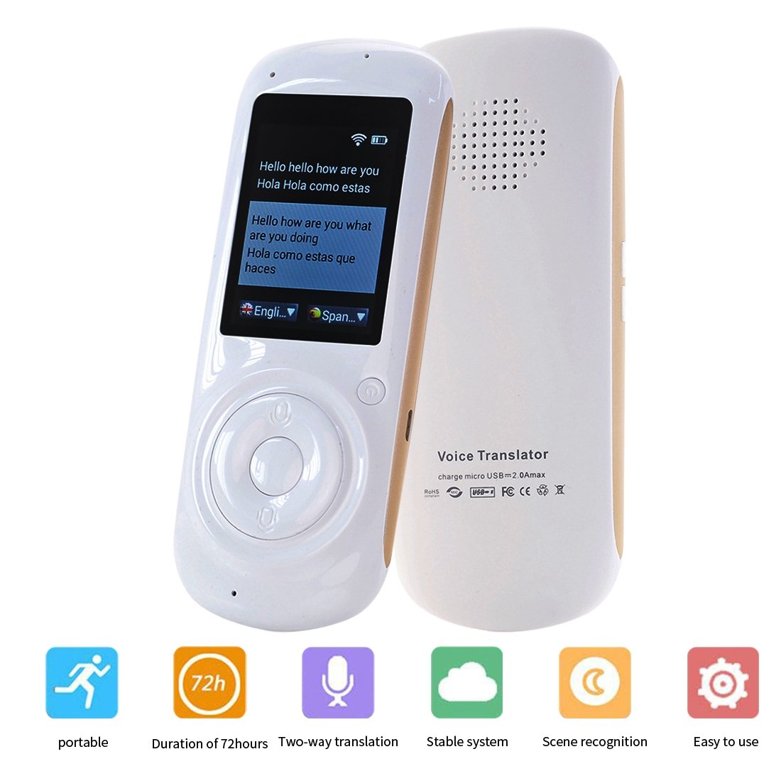 Voice Translator Smart Language Two Way WiFi 2.4inch IPS Capacitive Touch Screen Support Multi- Languages Freely Translation LTD W88