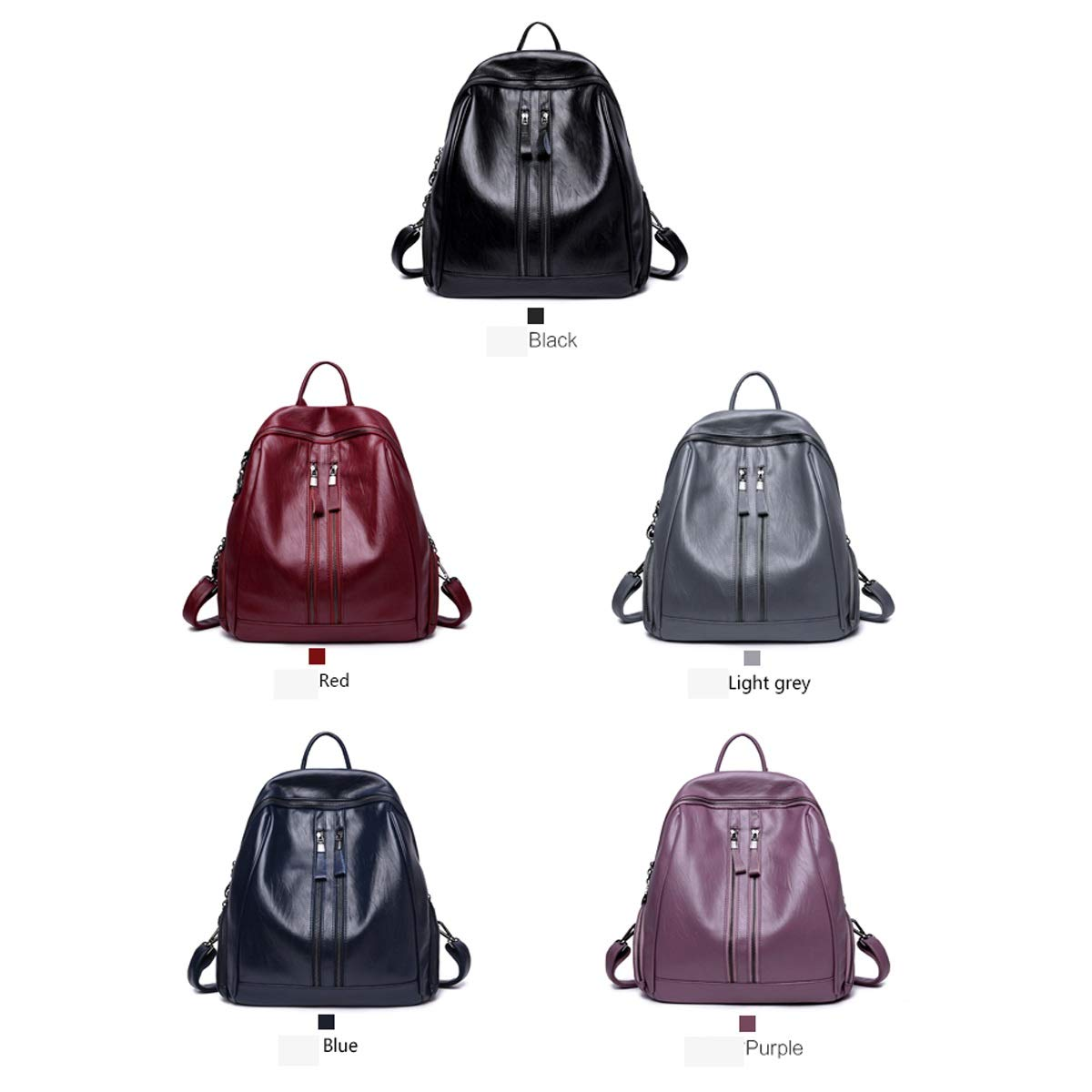 Black//Blue//Red//Purple//Gray Large Capacity PU Leather for Women /& Men ZHICHUANG Girls Multifunctional Backpack for Daily Travel//Outdoor//Travel//School//Work//Fashion//Leisure