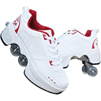 Deformation Roller Shoes Male and Female Skating Shoes Adult Children's Automatic Walking Shoes Invisible Pulley Shoes…