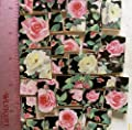 Mosaic Tiles Set -50+ HM Pink & White Roses on black Chintz
