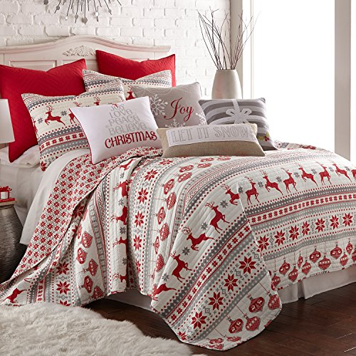 Holiday King Comforter - Levtex Silent Night King Set, Red/Grey/White, Cotton Christmas Holiday