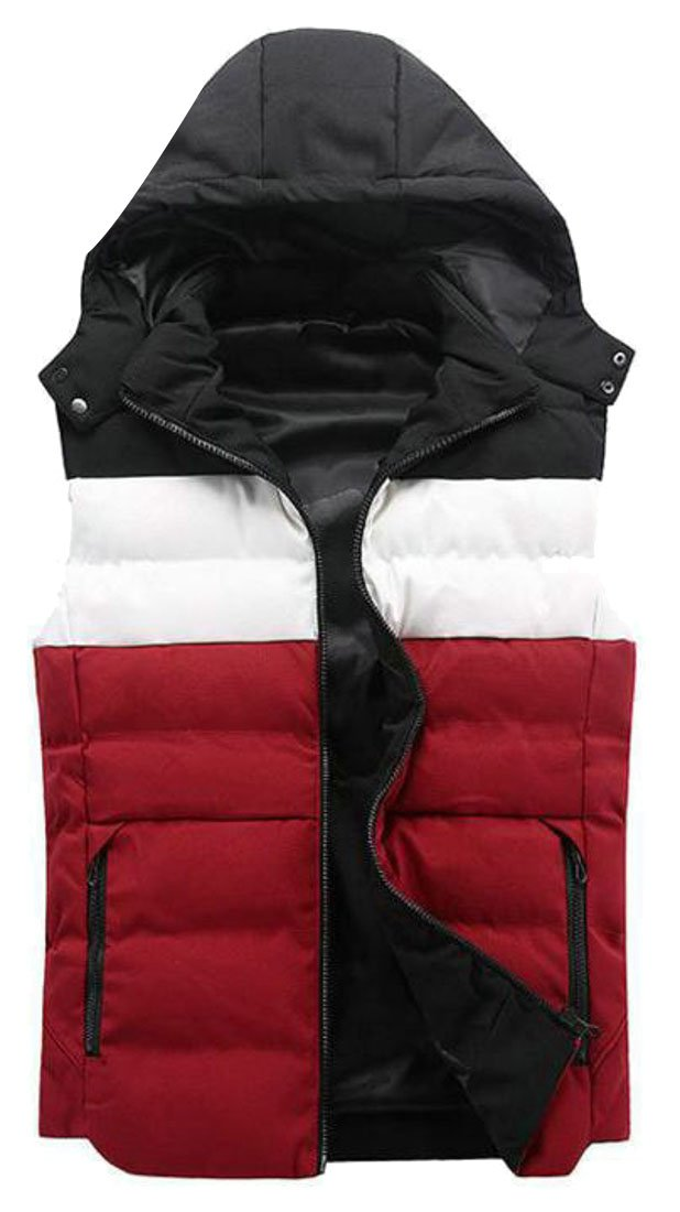 Pandapang Mens Basic Contrast Color Zip Removable Hooded Vest Jackets Red XXL