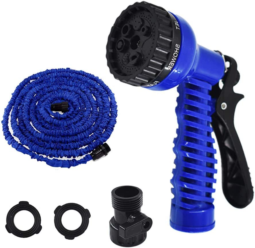 findmall Deluxe 25 50 75 100 Feet Expandable Flexible Garden Water Hose w/Spray Nozzle for Outdoor Lawn Car Watering Plants (Blue,25FT)