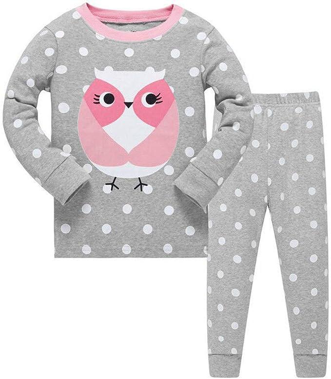 Conjunto de pijama para niñas de búho bonito, de manga larga, 100% algodón, ropa de dormir, camisetas y pantalones, de 2 a 7 años: Amazon.es: Ropa y accesorios