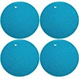 Ivalue Silicone Pot Holder Set of 4 Heat Resistant Non Slip Hot Pot Holder for Countertop (Blue)