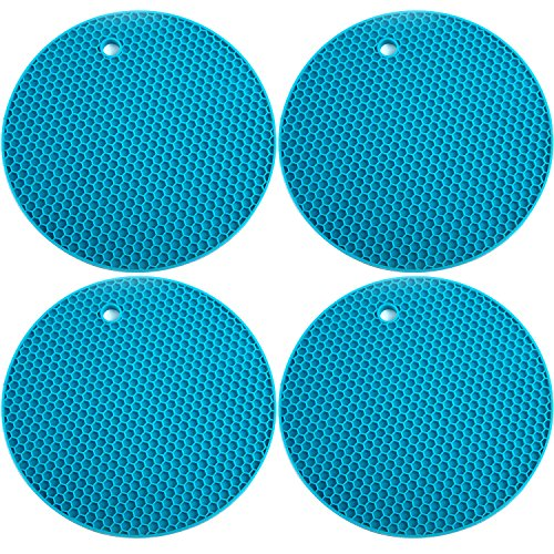 Ivalue Silicone Pot Holder Set of 4 Heat Resistant Non Slip Hot Pot Holder for Countertop (Blue) by Ivalue