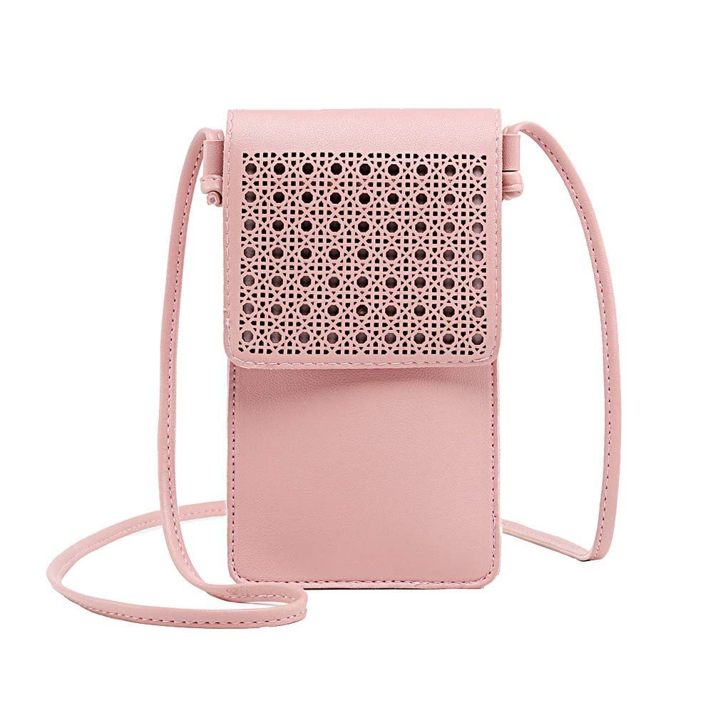 ZOMUSAR Laser Engraved Series Small Crossbody Bag Cell Phone Purse Wallet For Women (Pink)