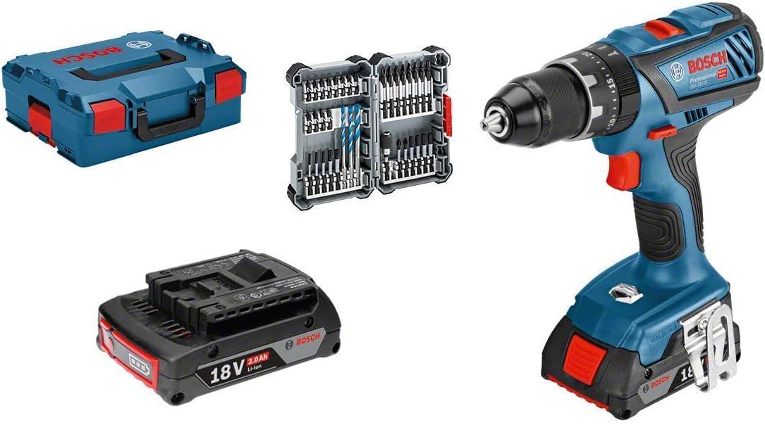 Bosch Professional GSB 18V-28 Taladro percutor, 2 baterías x 2,0 Ah, set 35 accesorios, 36 W, 18 V, en maletín, Edición Amazon, Azul