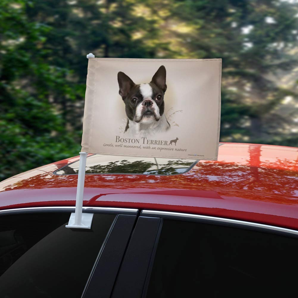 GRAPHICS /& MORE Boston Terrier Dog Breed Car Truck Flag with Window Clip On Pole Holder