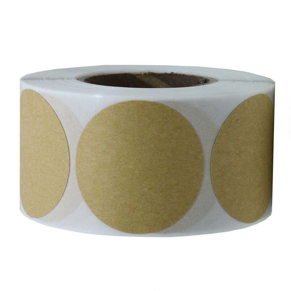 Tile & Sticker 2' Brown Kraft Paper Dot Labels | 500 Round Stickers per Roll, Permanent Adhesive