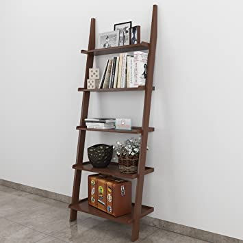 DecorNation Jasper Leaning Book Ladder and Room Organizer MDF Wall Shelf, Brown