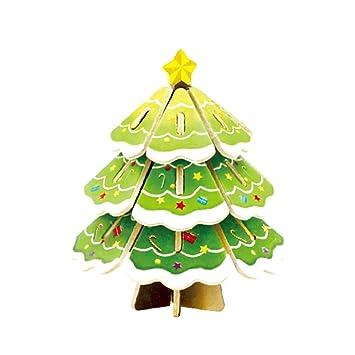 Amazon Com Christmas Tree 3d Puzzle 21 Pcs Diy Wooden Puzzle