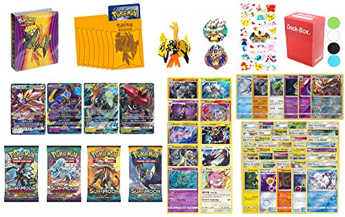 Pokemon Cards SUN AND MOON Premium Collection - 1 Solgaleo GX, 1 Lunala GX, 1 Tapu Koko GX, 1 Tapu Bulu GX, 10 Rares, 6 Holos, 4 Sun & Moon Series Boosters, 1 Mini Album, 40 Regular Cards - Plus More by Assortmart