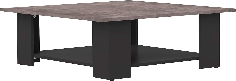 Marca Amazon -Movian Taro - Mesa de centro, 89 x 89 x 30.5cm (largo x ancho x alto), negro y efecto hormigón