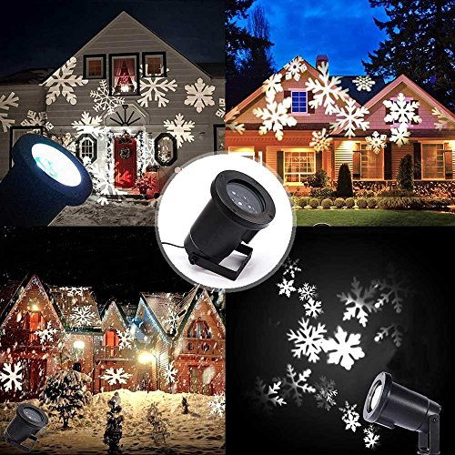 Podofo Waterproof Snowflakes Lamp Light Sparkling Landscape LED Projector for Indoor Outdoor Christmas Holiday Home Decoration (White) by podofo