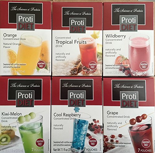(Protidiet Variety Pack Including Peach Mango, Tropical Fruit, Wildberry, Cool Raspberry and Grape 7 Servings Each, 35 Servings Total)