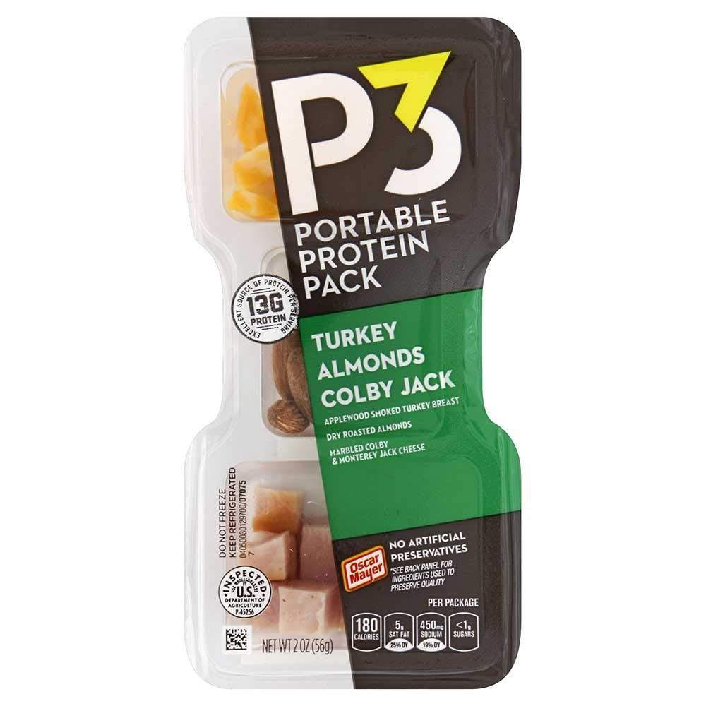 P3 Turkey Cheese with Almonds Convenience Meal, 2 Ounce -- 10 per case.