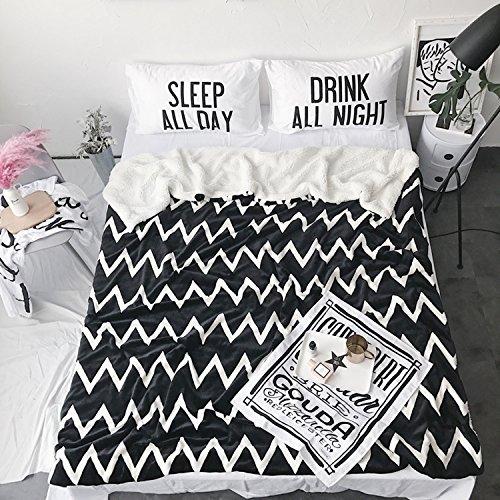 ClothKnow Small Flannel Fleece Blanket Throws for Teens Black Zig Zag Pattern, Geometric Double Soft Blankets Cozy Plush, Twin Size 59