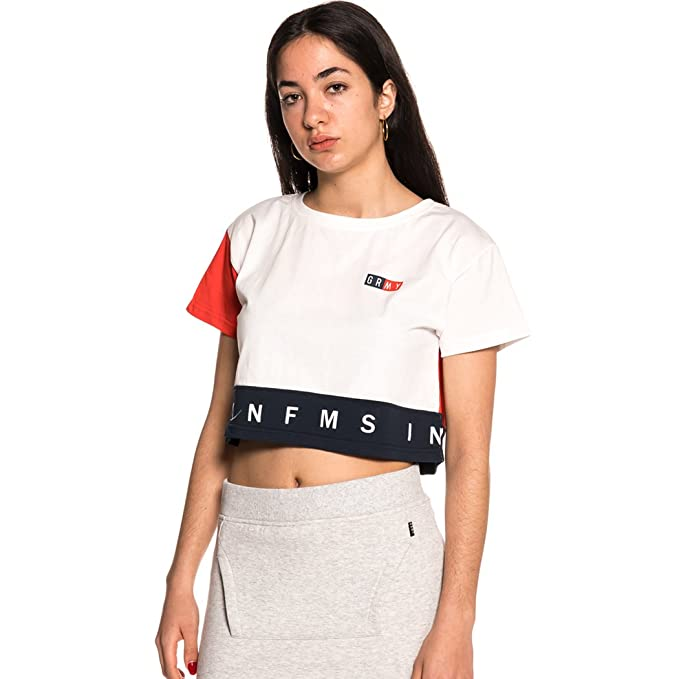 Grimey Camiseta Chica ASHE Crop Top SS18 White -S