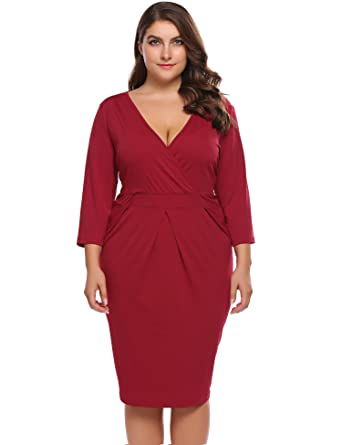 f5e1cce2b5 IN VOLAND Womens Plus Size Wrap Deep V-Neck 2 3 Sleeve Midi Bodycon Dress -  Ladies Party Pencil Dress Cocktail Wrap Dress at Amazon Women s Clothing  store
