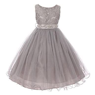 9ab0c2903e0 Little Girls Silver Stretch Lace Glitter Sequin Stone Sash Flower Girl  Dress 5 6