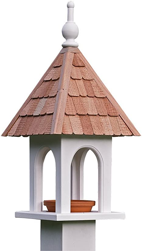 Lazy Hill Farm Designs 41550 Loretta Bird Feeder White Solid Cellular Vinyl With Natural Redwood Shingle Roof 11 Inch By 23 Inch Amazon Co Uk Garden Outdoors
