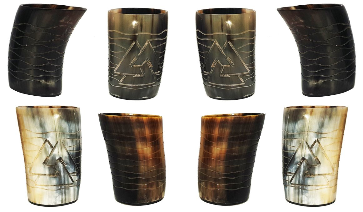Whiskey Shot Glasses Real Horn Mug Cup Ale Beer Wine Glass 8 pieces Set of Handicrafted Natural Horn Glass 4-4.5 inch Polished Hand Engraved Odin with Waves Engraving Ideal for Partys to Serve Drink