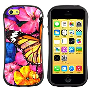 Fuerte Suave TPU GEL Caso Carcasa de Protección Funda para Apple Iphone 5C / Business Style Butterfly Art Garden Flowers Blossoms Nature