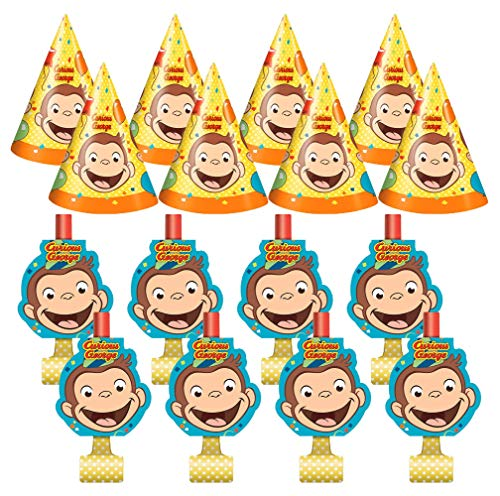Unique Industries Curious George Birthday Party Favors Pack for 8 Guests Including Kids Hats and Blowouts]()