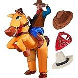 VAMEI Aufblasbare Pferd Kostüm Cowboy Reiter Kostüm Männer Erwachsene Jungen Mit Cowboy Hut und Cowboy Bandana für Halloween Kostüm Verkleiden