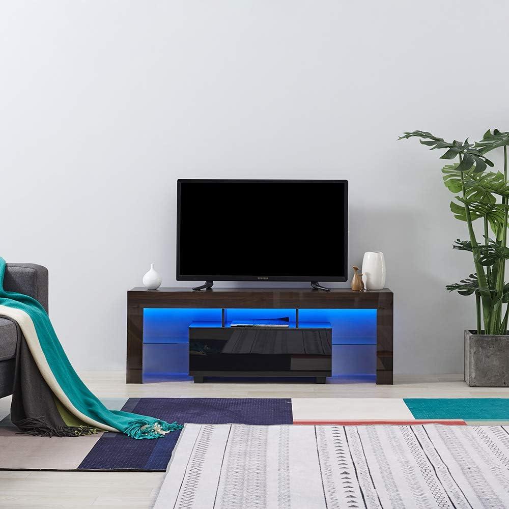 Keinode - Mueble de TV con Luces LED de Alto Brillo Blanco Mate y Blanco (130 cm), para salón o Dormitorio Brown & Black LED: Amazon.es: Electrónica